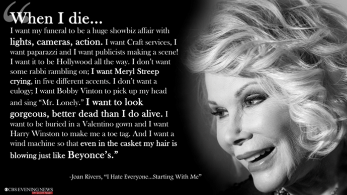 Joan Rivers' funeral, big, loud, entertaining, with a standing ovation, just the way she planned it.