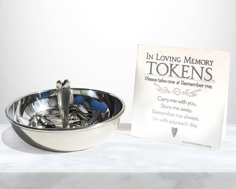 Heart tokens in token bowl with token card