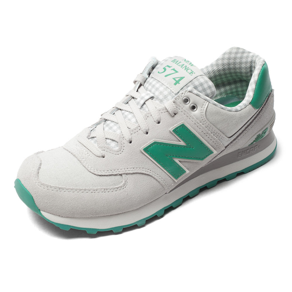 green and gray new balance shoes