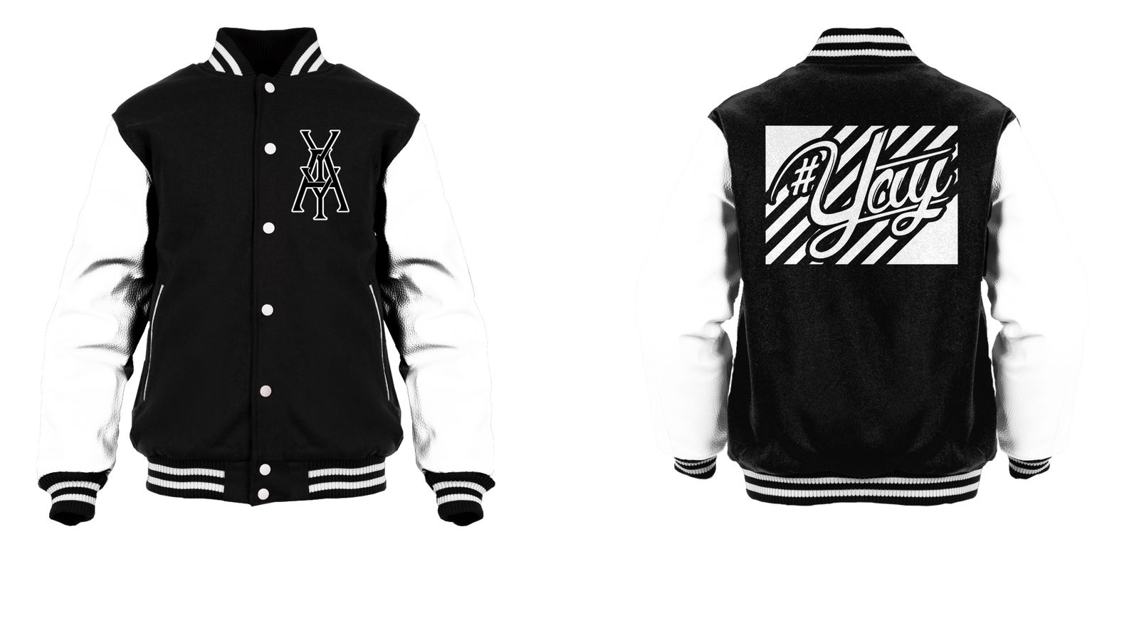Stripes Yay Monogram Logo Varsity Jacket