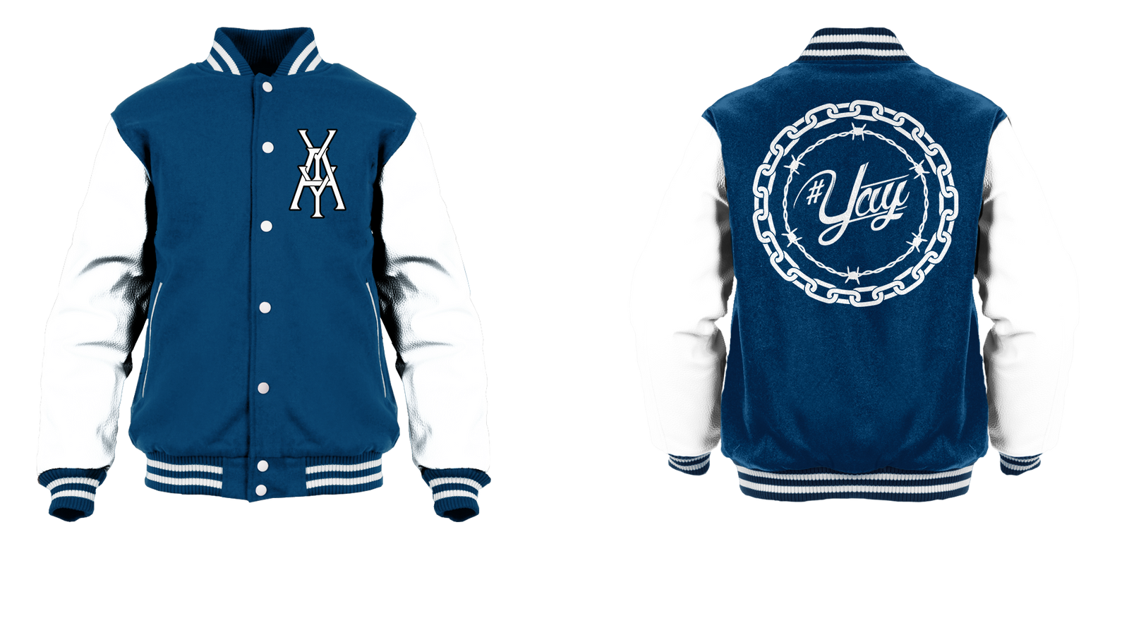 Chained and Barbed Yay Monogram Logo Varsity Jacket
