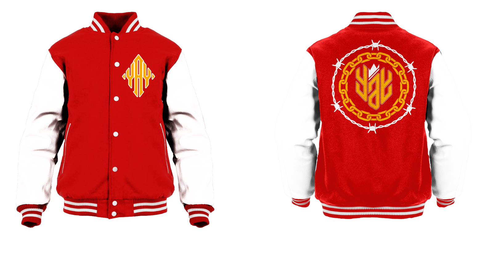 New Barbed and Chained Yay Diamond Logo Varsity Jacket