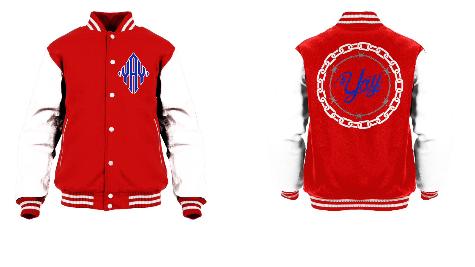 Chained and Barbed Yay Diamond Logo Varsity Jacket