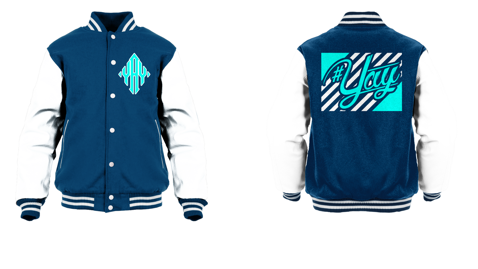 Stripes Yay Diamond Logo Varsity Jacket