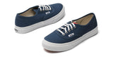 Vans Unisex Authentic Slim Skate Shoes - Dark Denim/True White - VN-0QEV8ZI
