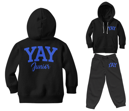 Black Junior Yay Blocked Zipped Sweatsuits