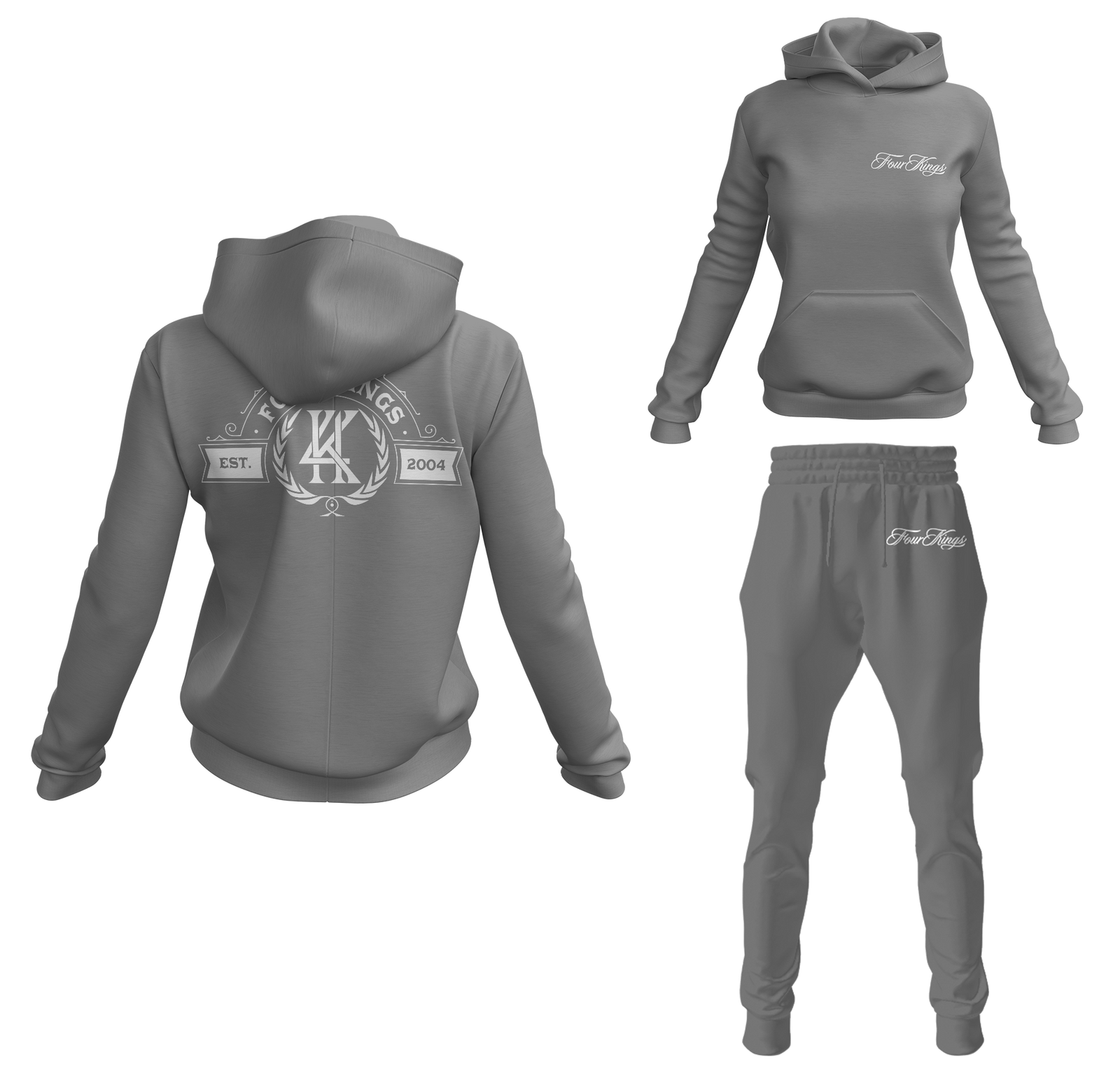 Four Kings Women's V1 Pullover Sweatsuit (Gray)