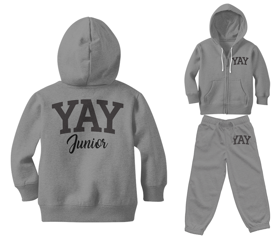 Gray Junior Yay Blocked Zipped Sweatsuits