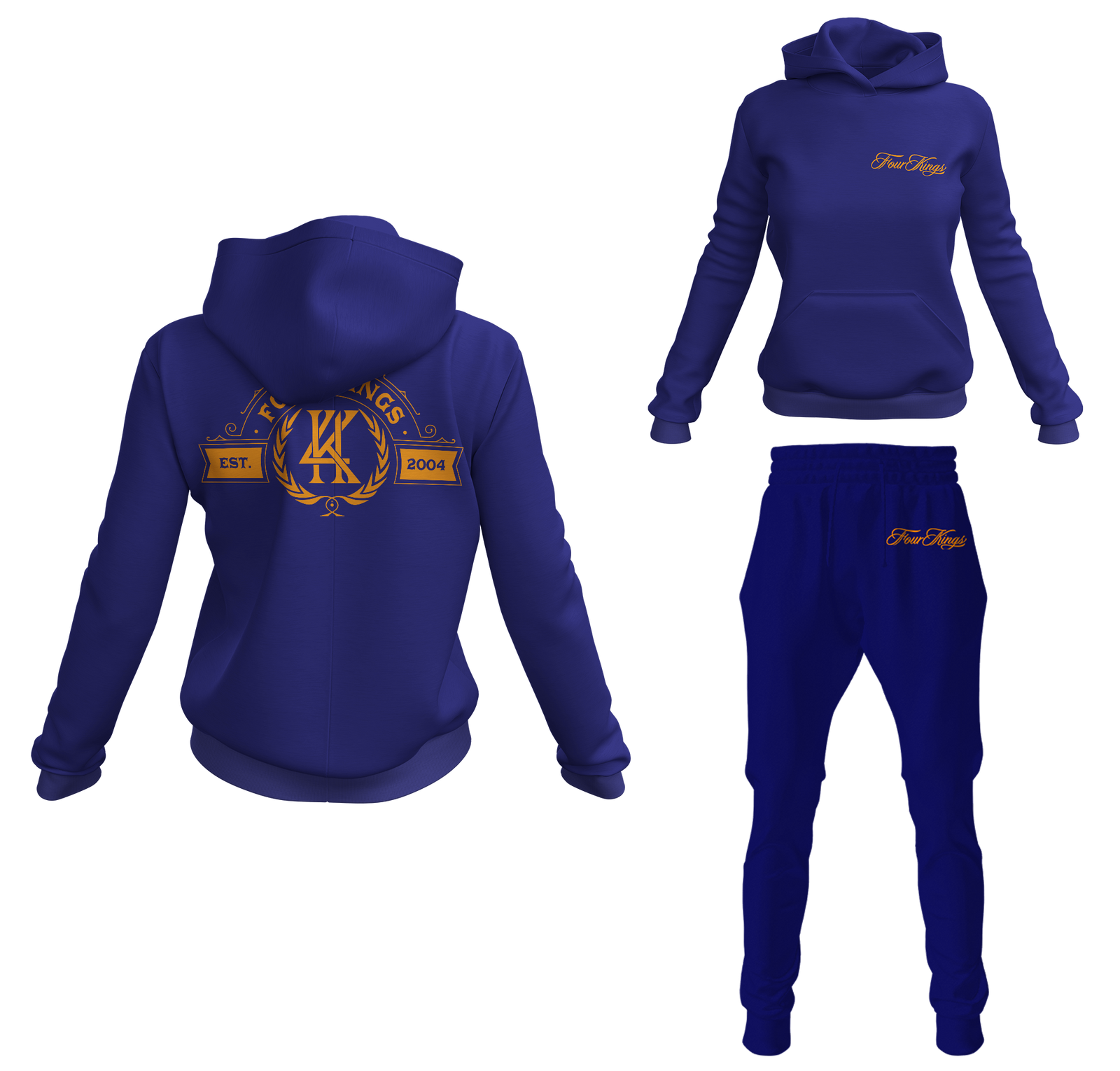 Four Kings Women's V1 Pullover Sweatsuit (Navy Blue)