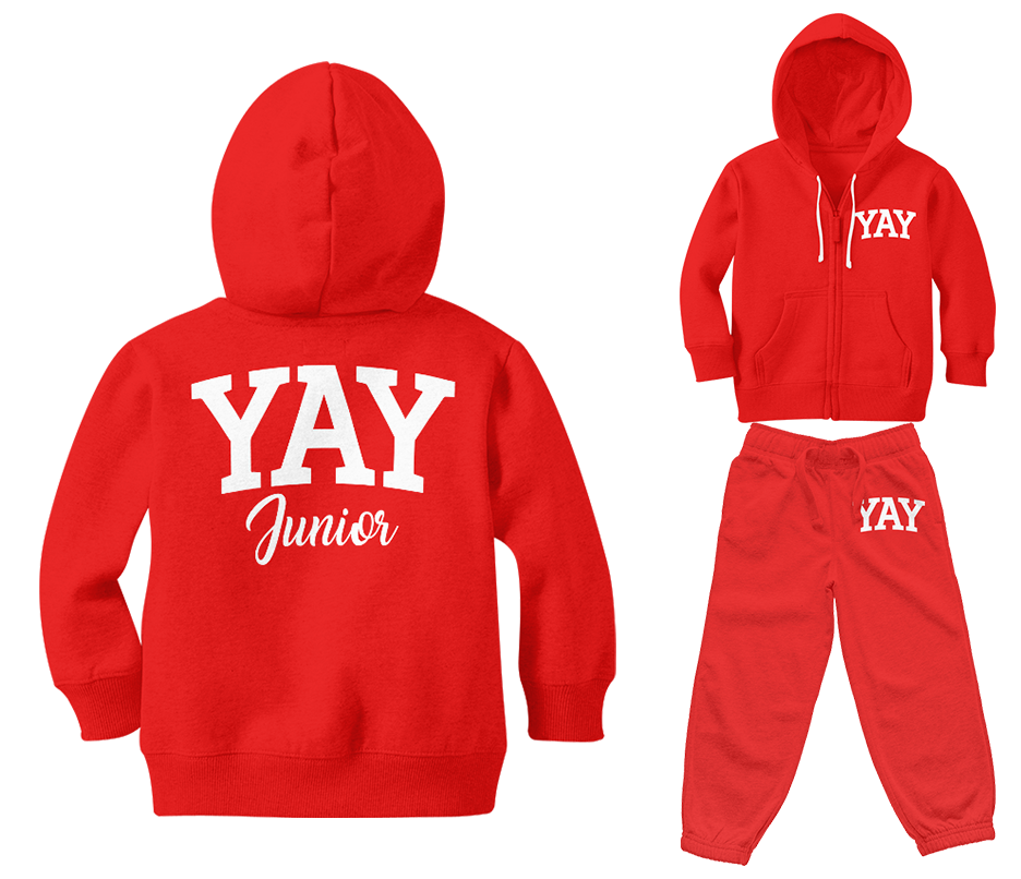 Red Junior Yay Blocked Zipped Sweatsuits