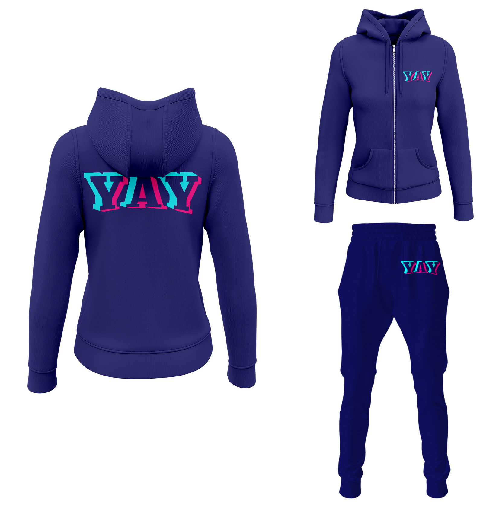 Women's Glitch Yay Zipped Sweatsuits