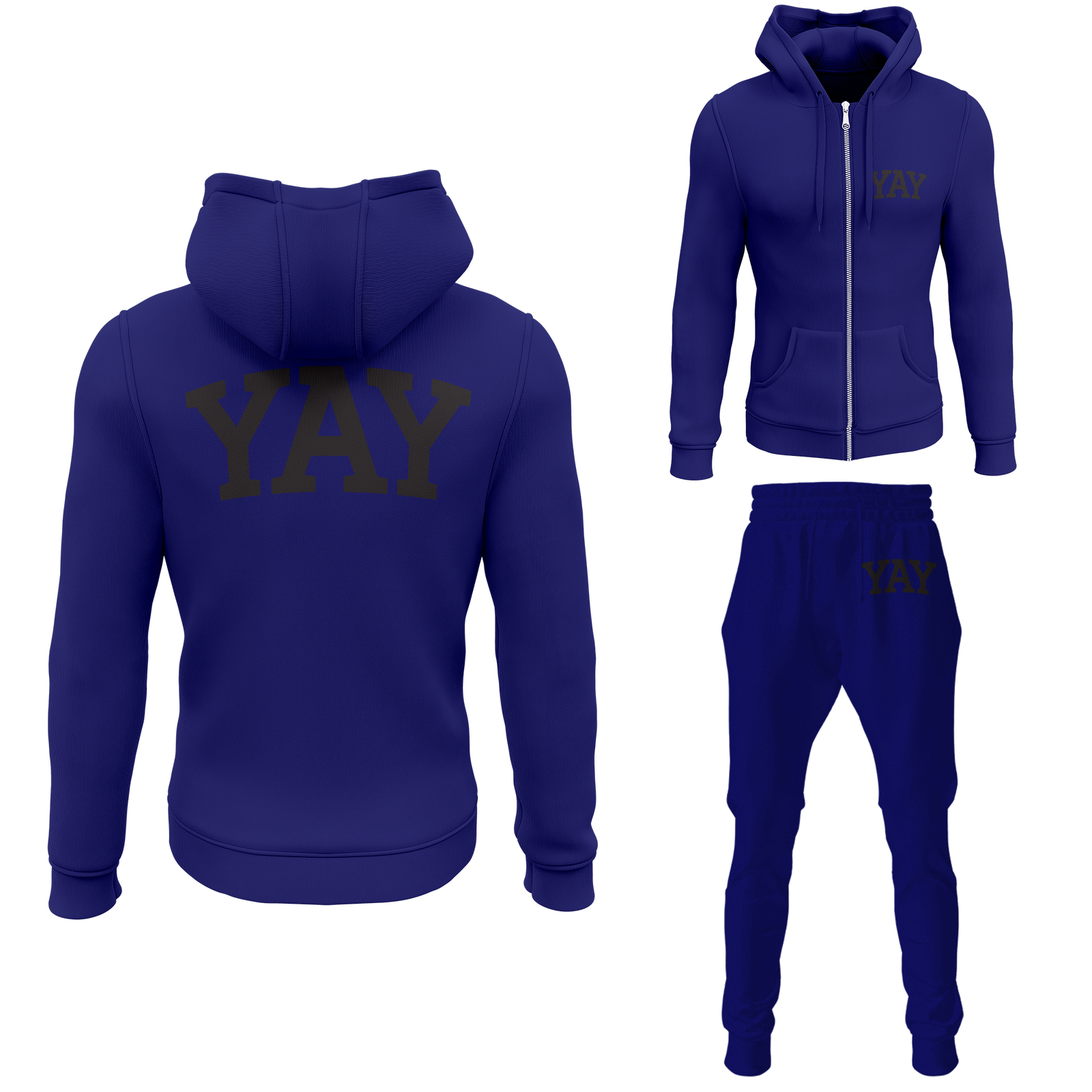 Blue Mens Yay Block Zipped Sweatsuits