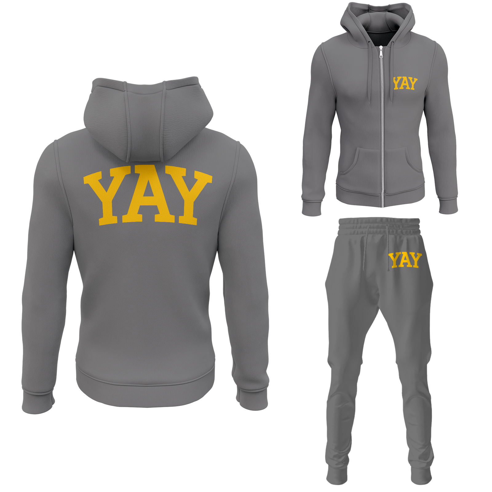Gray Mens Yay Block Zipped Sweatsuits