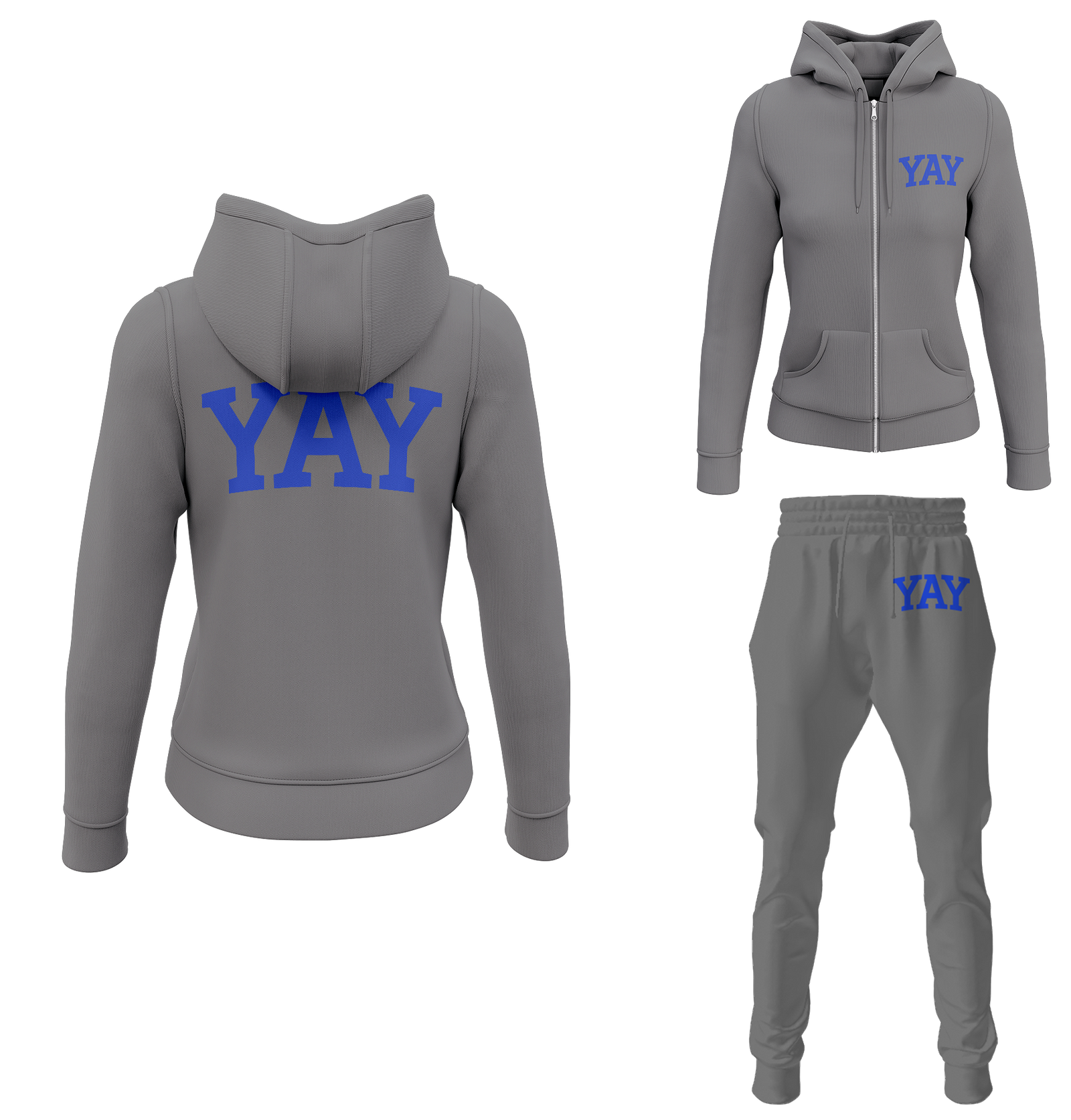 Gray Womens Yay Block Zipped Sweatsuits