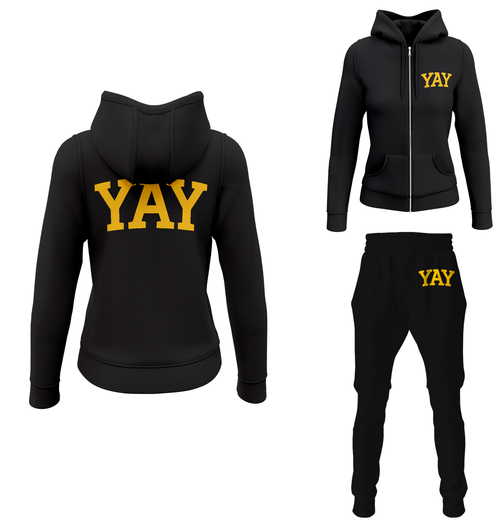 Black Womens Yay Block Zipped Sweatsuits