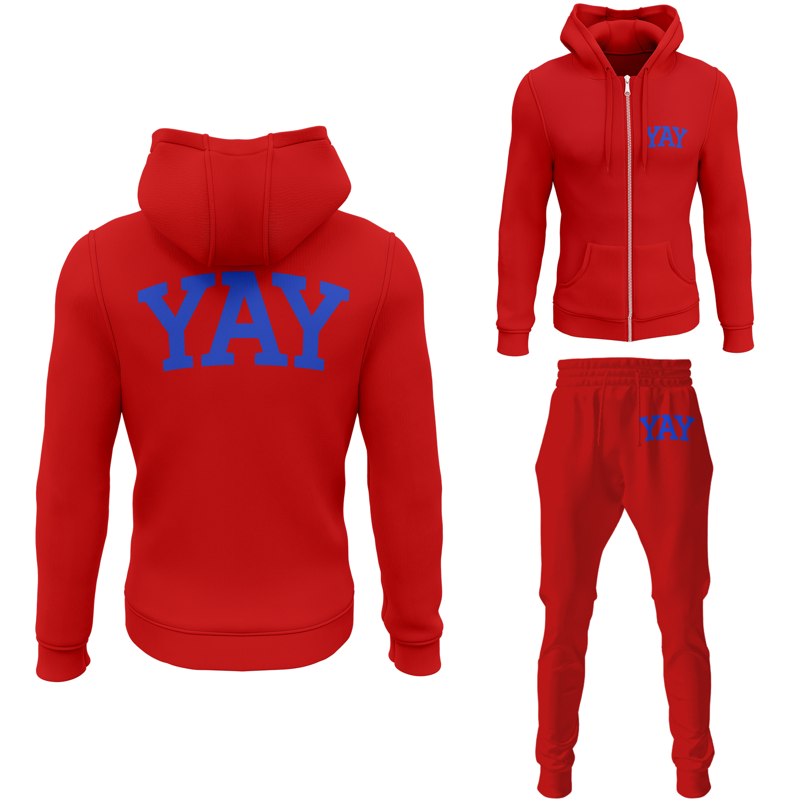 Red Mens Yay Block Zipped Sweatsuits