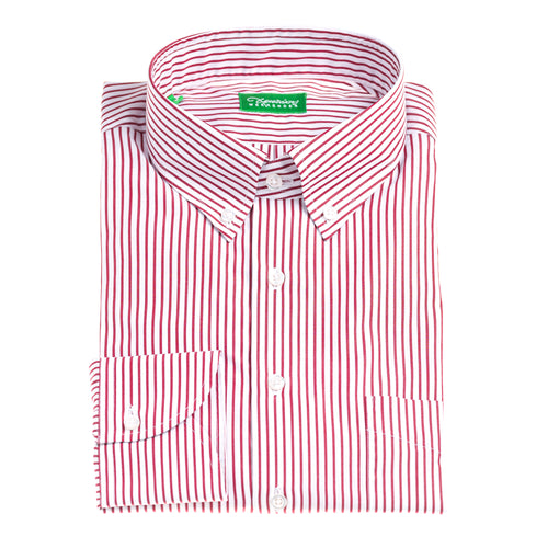 Christakis Weekender Red Stripe cotton poplin men's shirt with button-down collar
