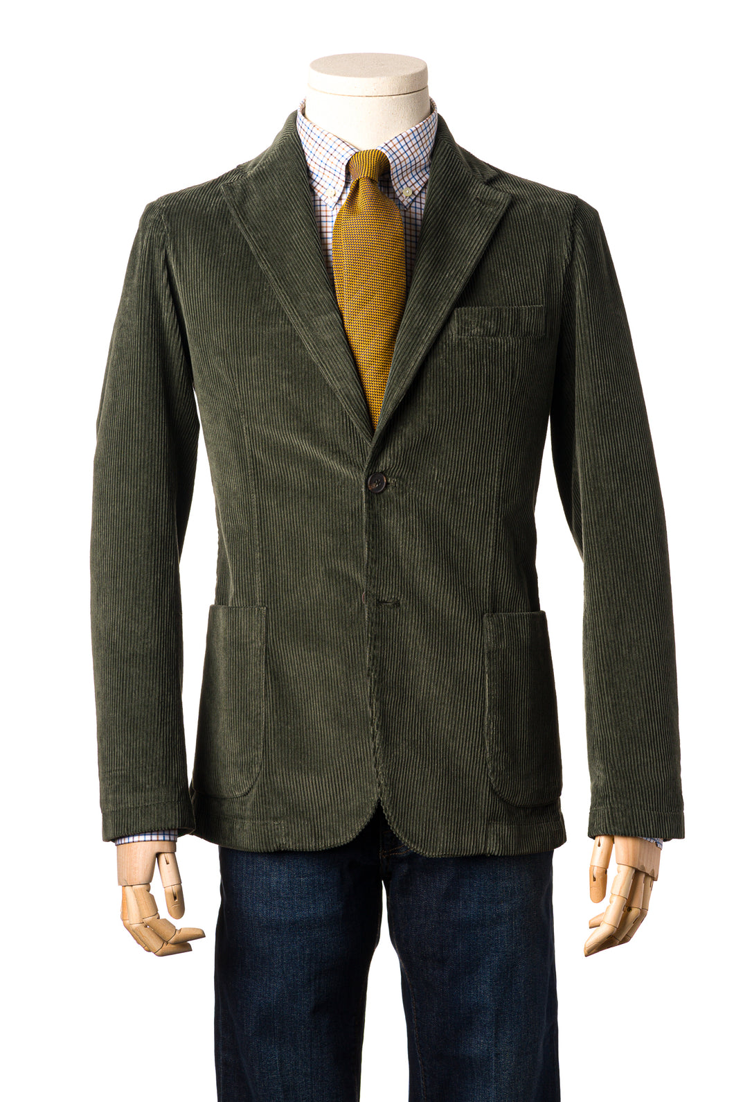 Olive corduroy soft tailored jacket with side patch pockets