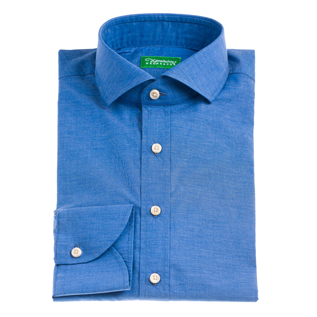 Christakis Weekender Indigo blue cotton poplin men's shirt with fresco collar