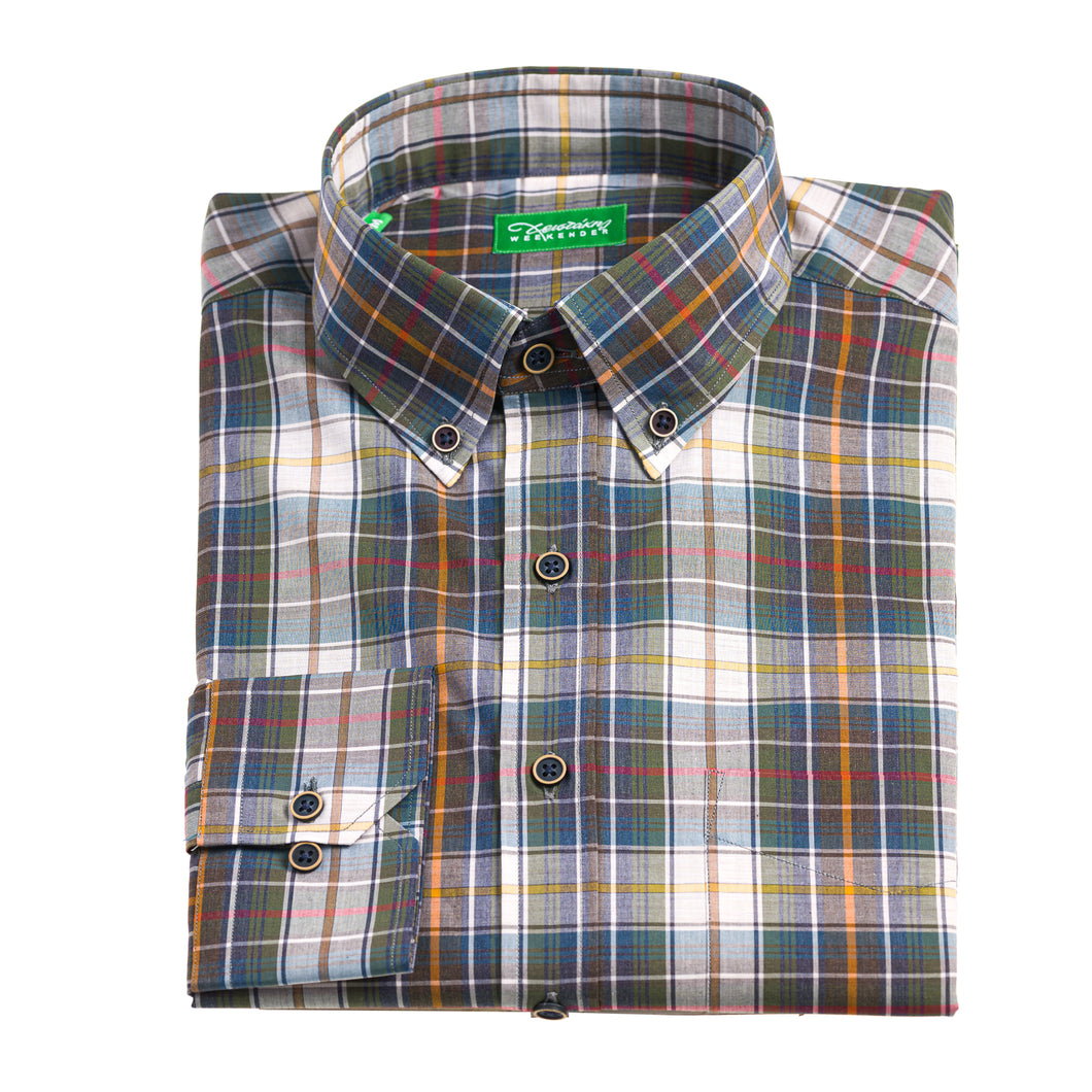 Christakis Weekender Multicolor Tartan check cotton poplin men's shirt with button-down collar