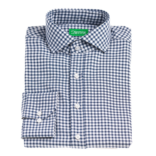 Christakis Weekender Blue Check Cotton & Wool Flannel men's shirt with fresco collar