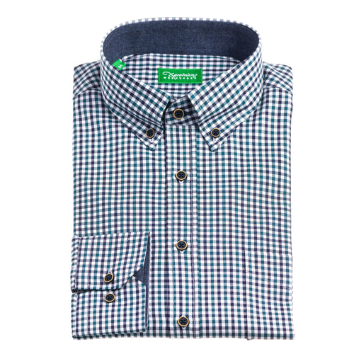 Christakis Weekender Blue & Green Cotton Twill men's shirt with button-down collar