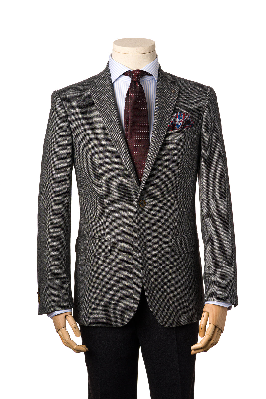 Modern Grey Tweed Jacket by Daniel Hechter