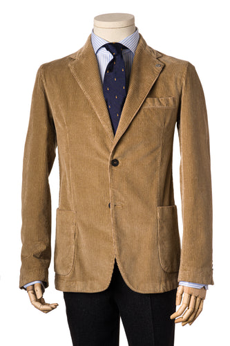 Beige corduroy soft tailored jacket with side patch pockets