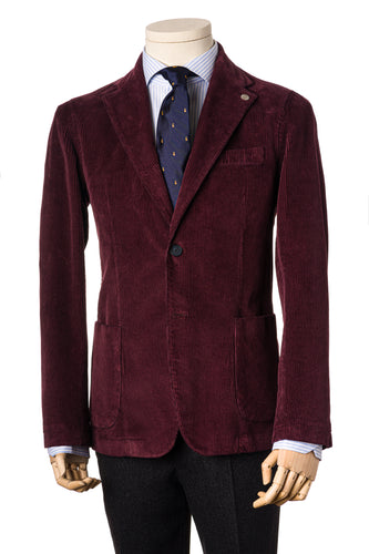 Burgundy corduroy soft tailored jacket with side patch pockets