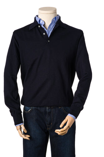 Russell Navy Blue Merino Polo