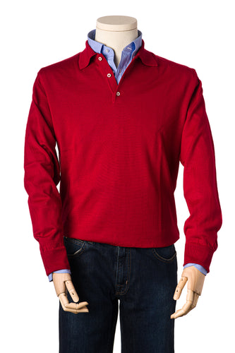 Russell Cherry Red Merino Polo