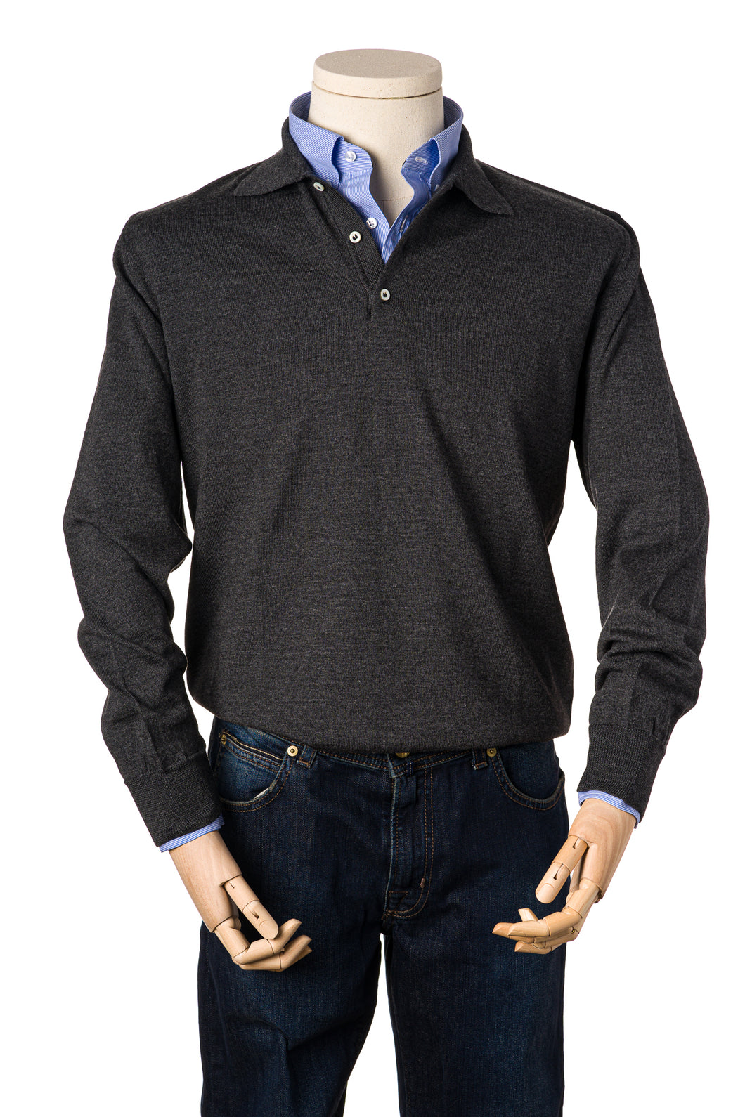 Russell Charcoal Grey Merino Polo