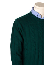 Kelt Forest Green Cable-Knit Round Neck