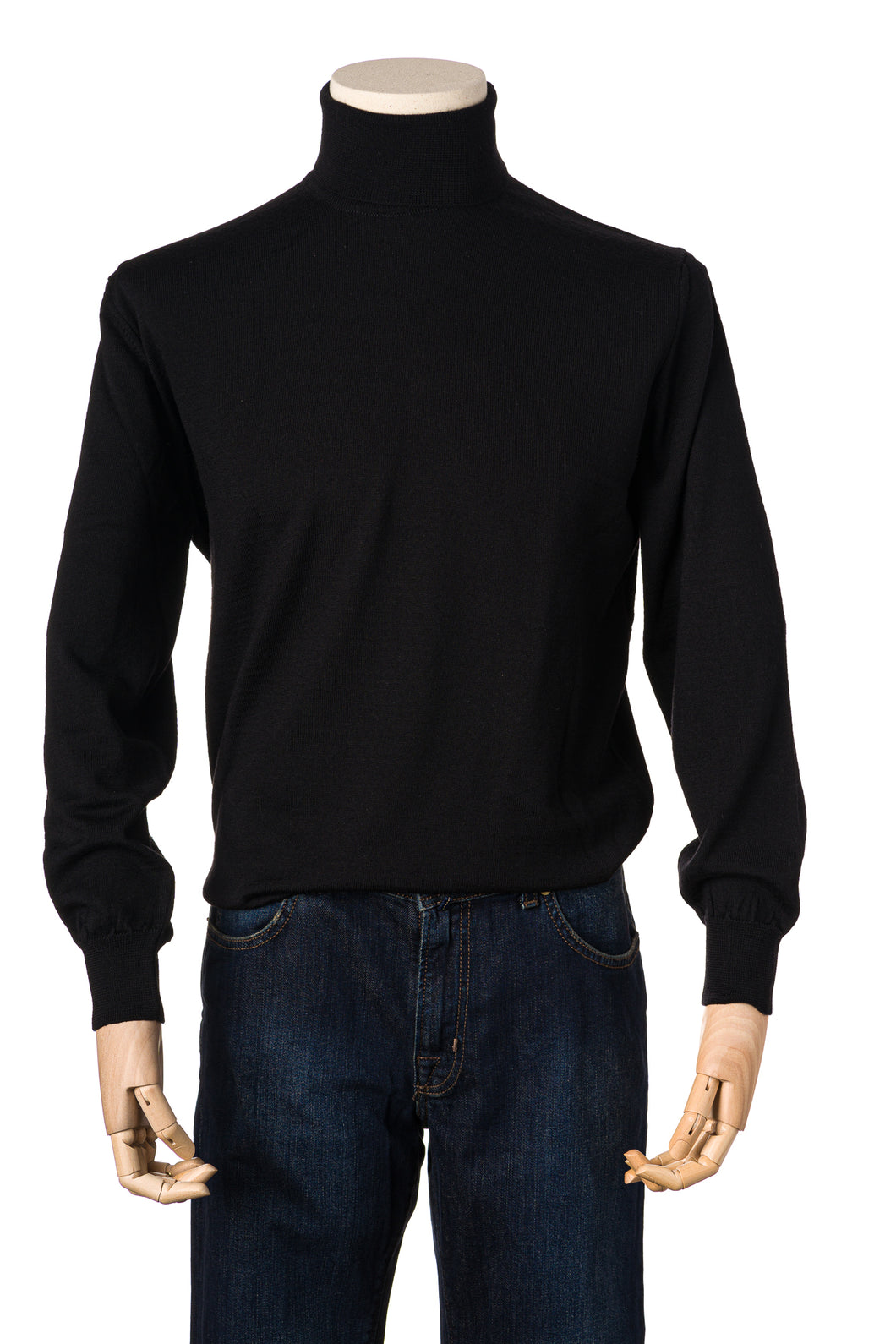 Doria Black Merino Roll Neck