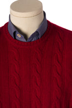 Kelt Dark Red Cable-Knit Round Neck