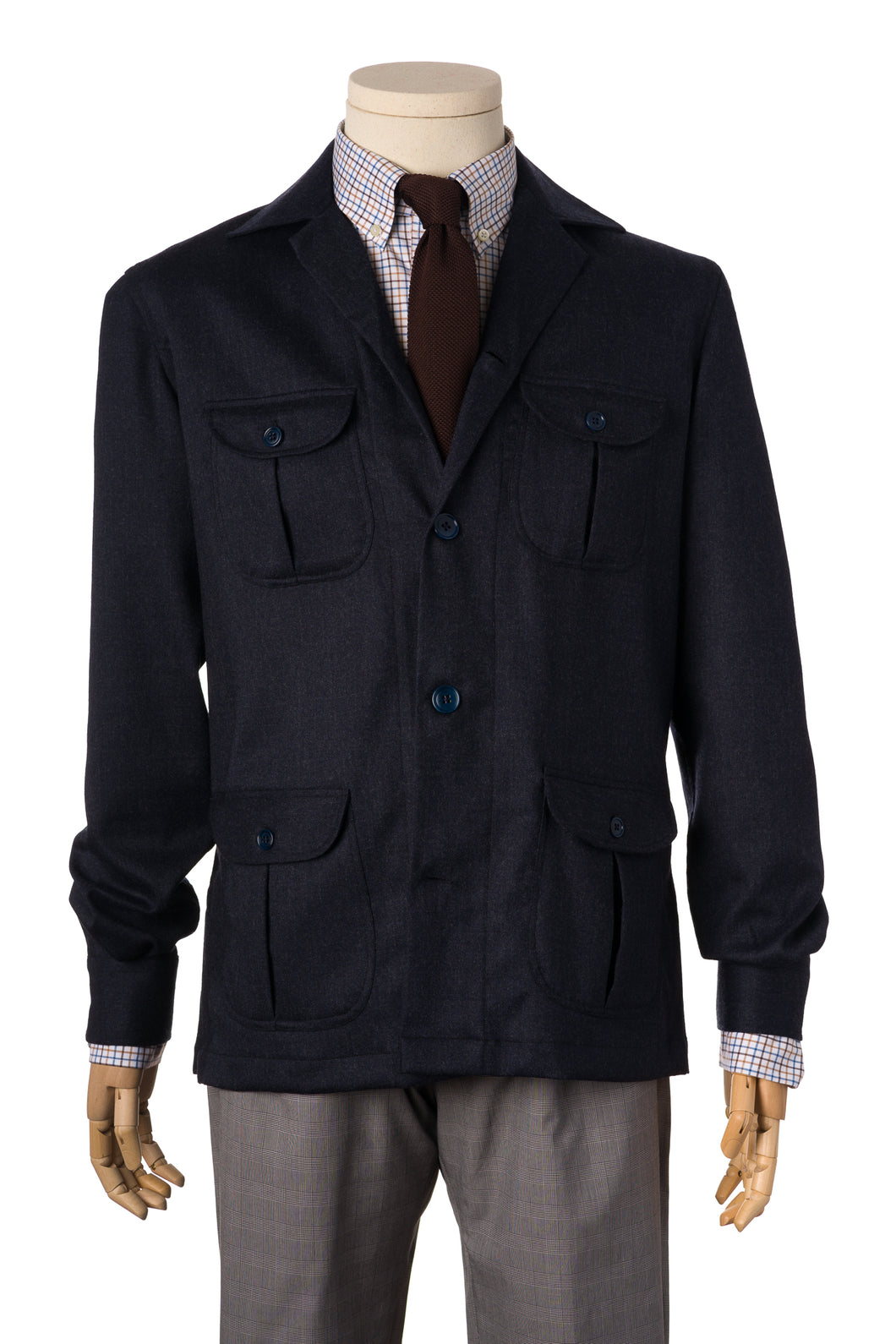 Christakis Navy Blue Wool Safari Overshirt with shirt and tie