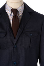 Detail of Navy Blue Wool safari overshirt with Brocca pockets