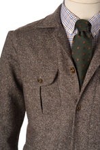 Detail of Brown Wool safari oversirt with Brocca pockets