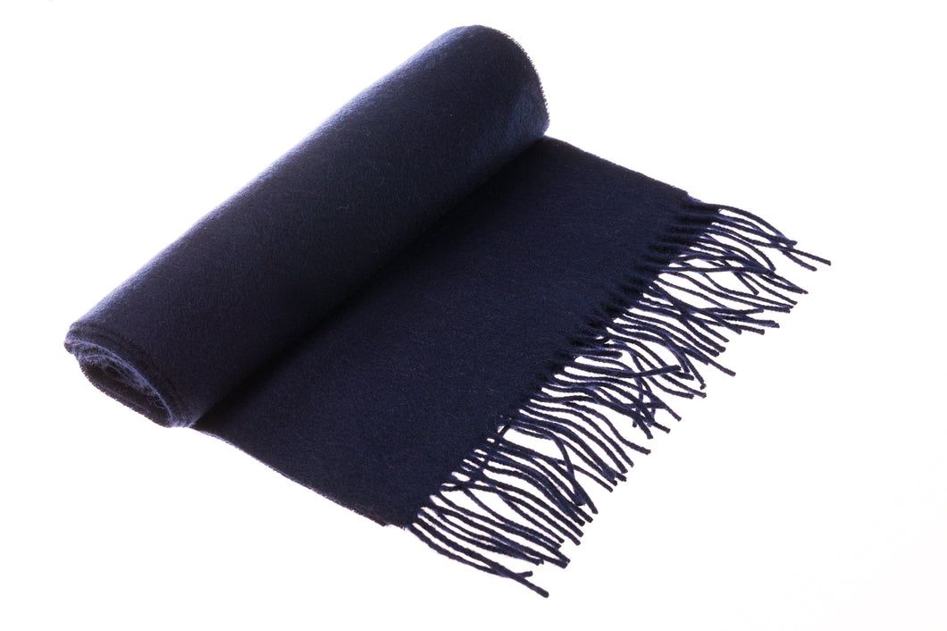 Navy Blue Wool & Cashmere Scarf