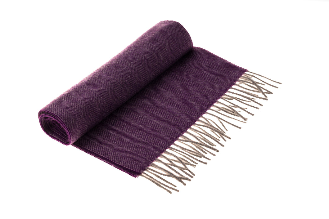 Purple Herringbone Cashmere Scarf