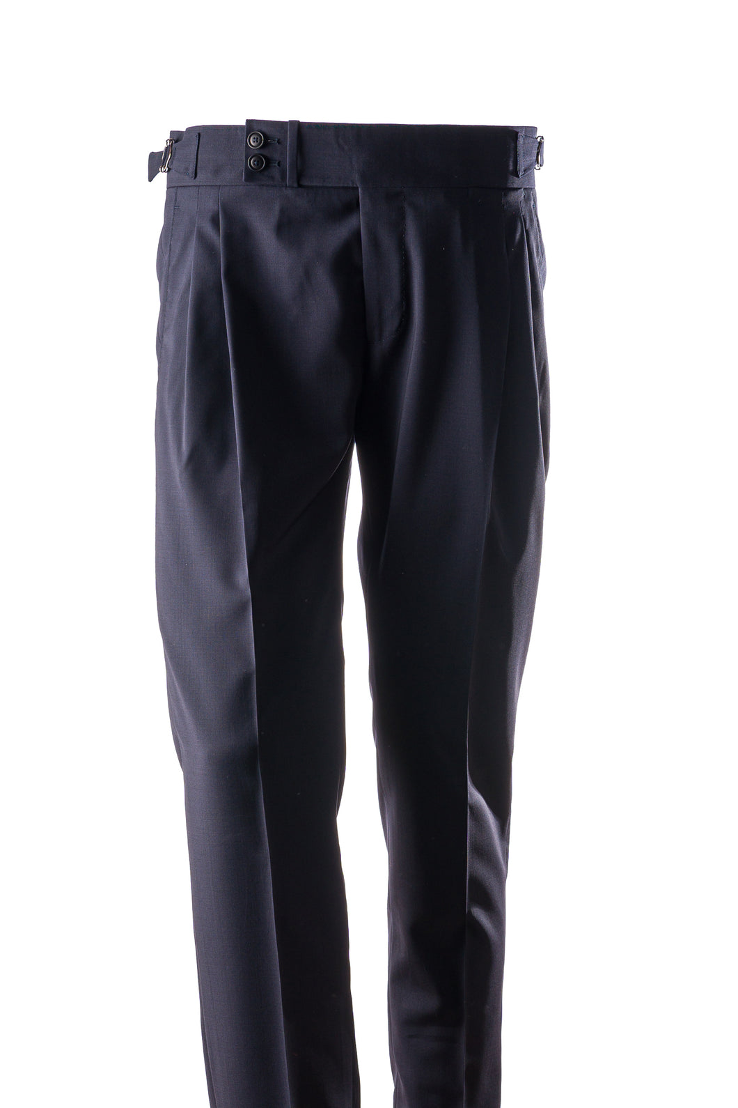 Navy Blue Wool men's trousers with side adjusters and sartorial details