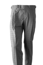 Grey Check Cotton men's trousers with side adjusters and sartorial details