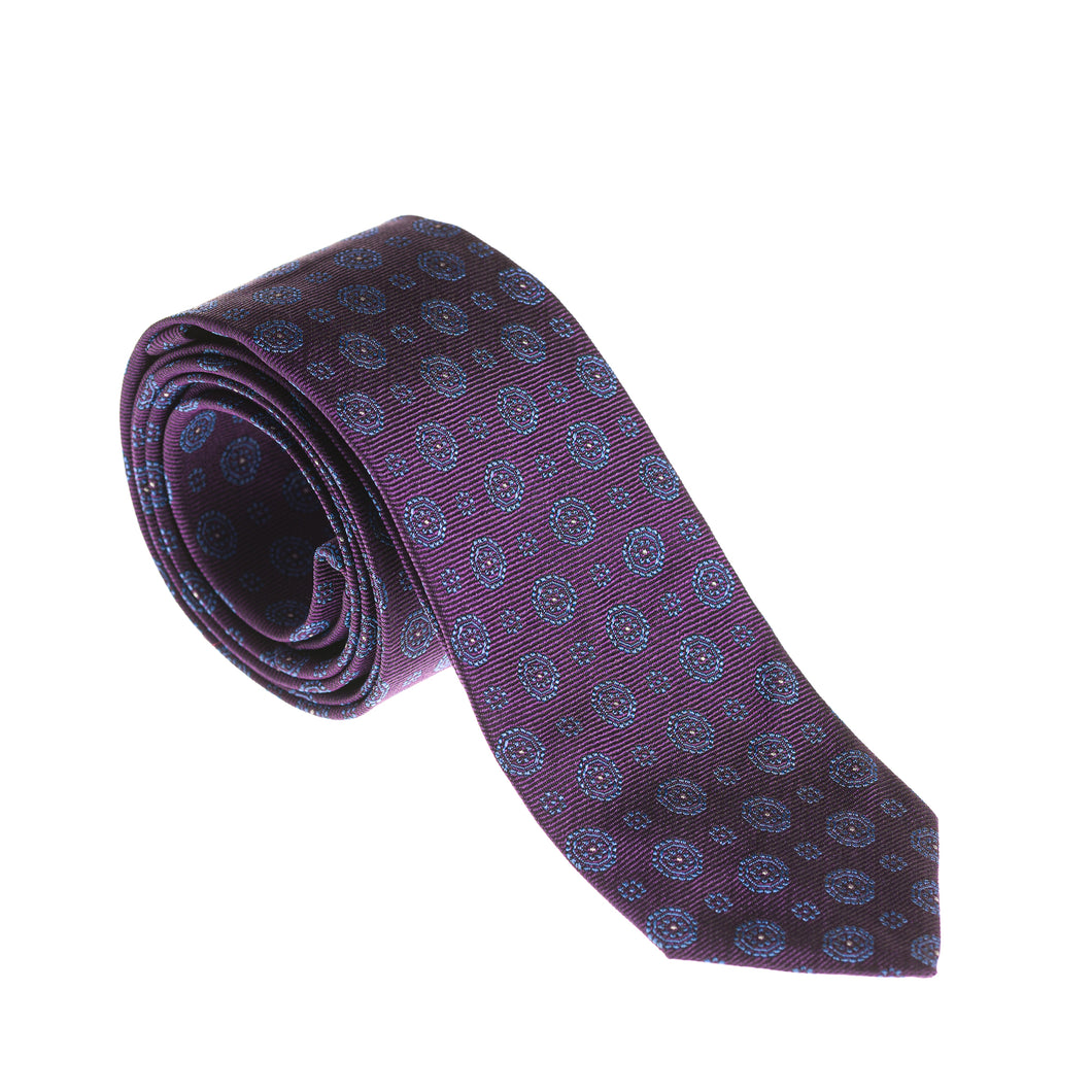 Brera Purple Flower Design Silk Tie