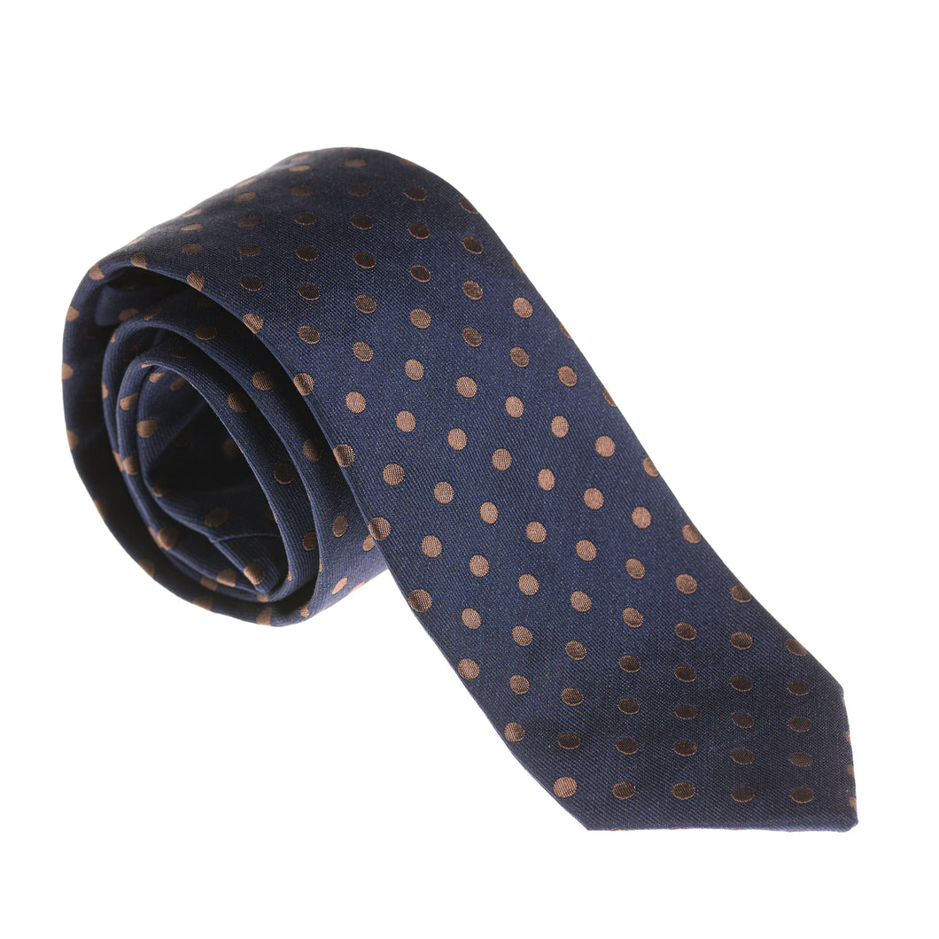 Como Blue & Brown Dot Silk Tie