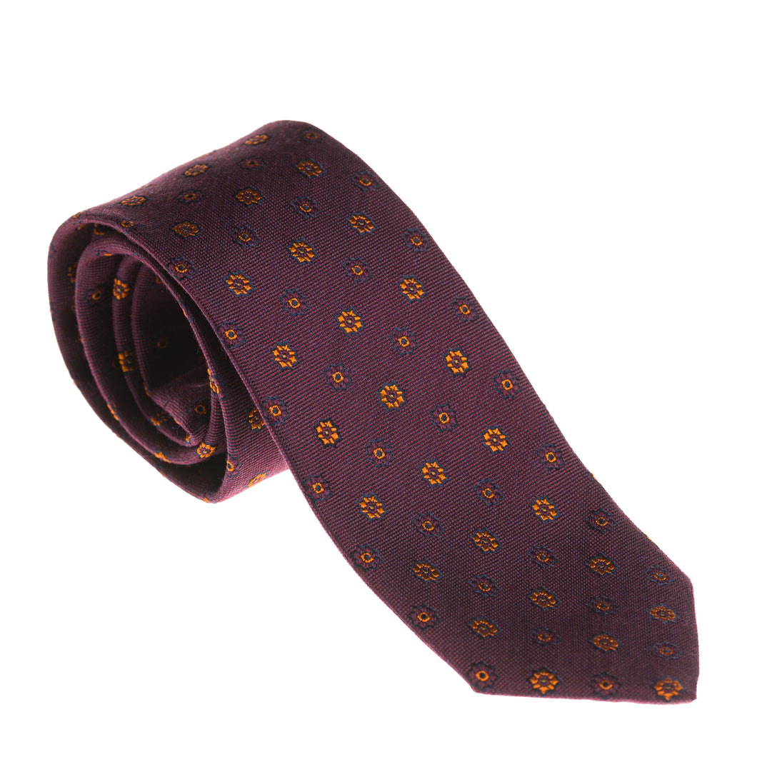 Como Burgundy Flower Silk & Wool Tie