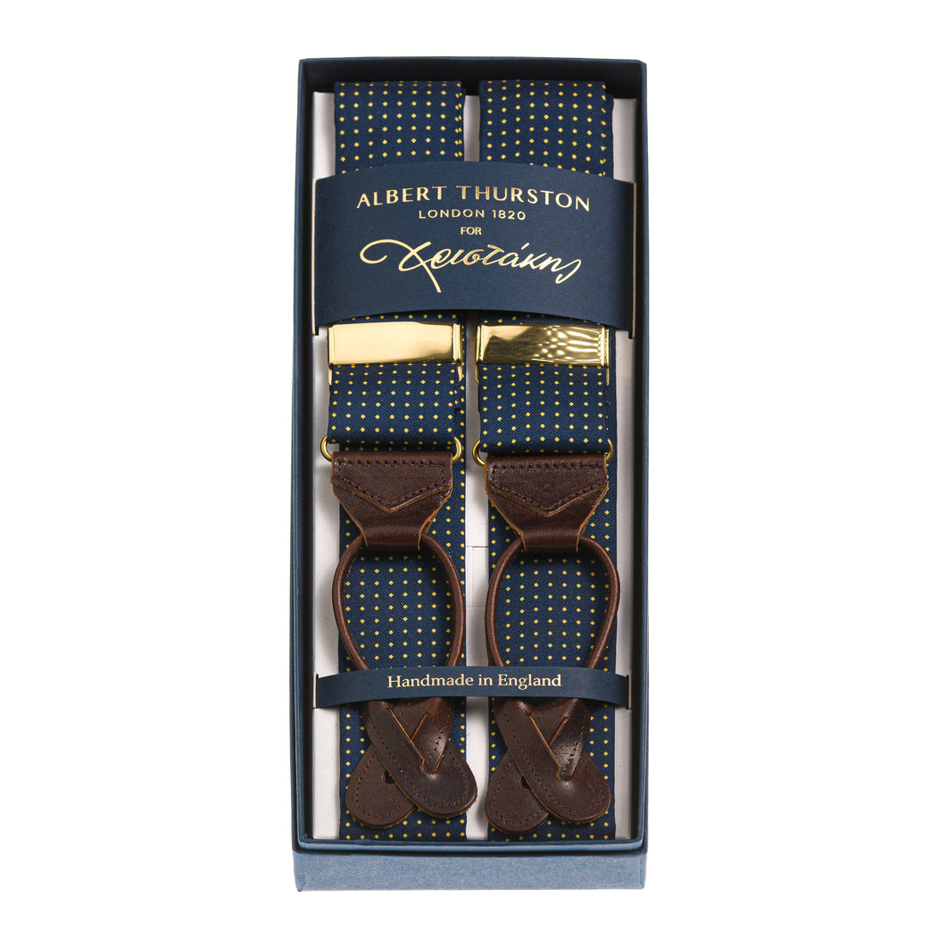 Albert Thurston Blue & Gold Silk Braces for Christakis