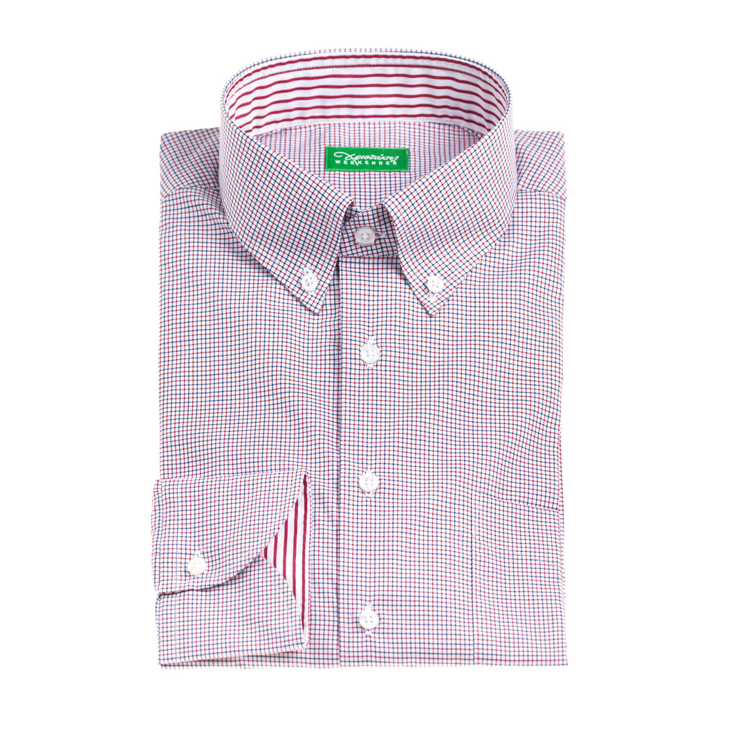 Christakis Weekender Red & Blue Check cotton poplin men's shirt with button-down collar