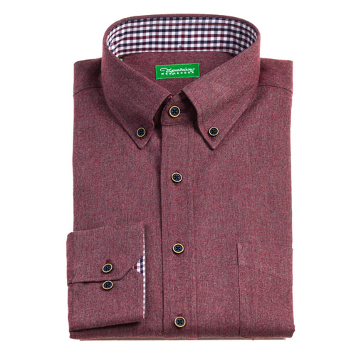 Christakis Weekender Burgundy Flannel men's shirt with button-down collar
