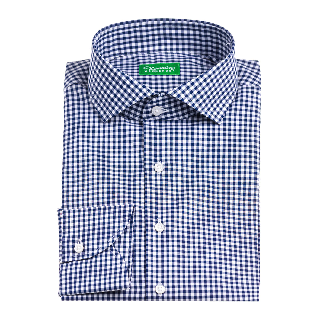 Christakis Weekender Blue Check Poplin men's shirt with fresco collar