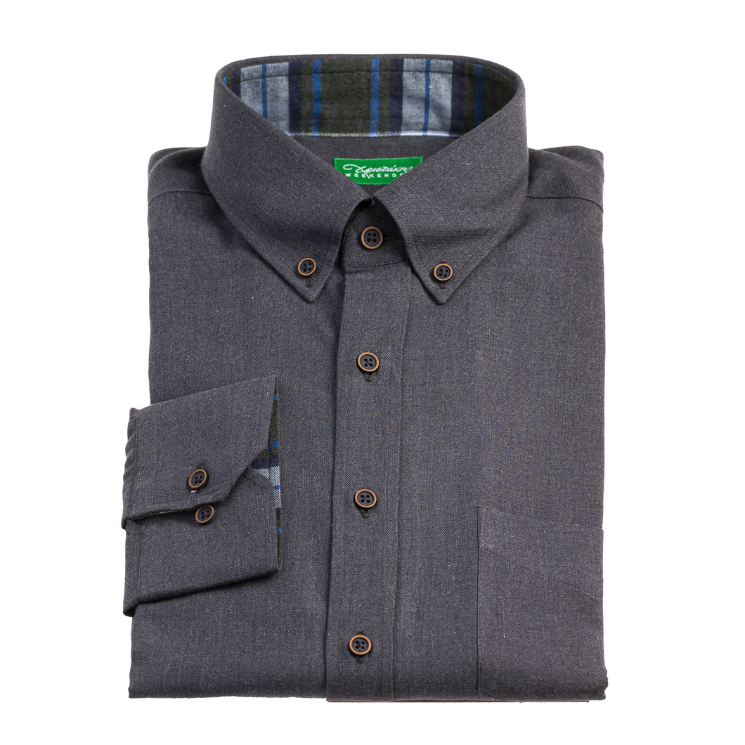 Christakis Weekender Grey Cotton Flannel men's shirt with button-down collar